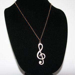 Vintagejelyfish Jewelry - Gold and rhinestone music note necklace